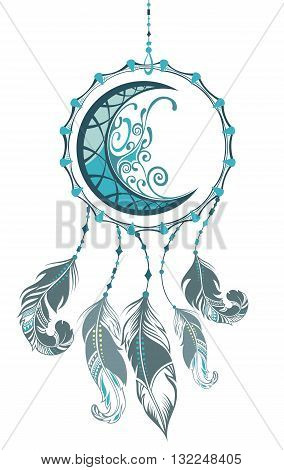 Indian Dream catcher. Ornate moon with feathers