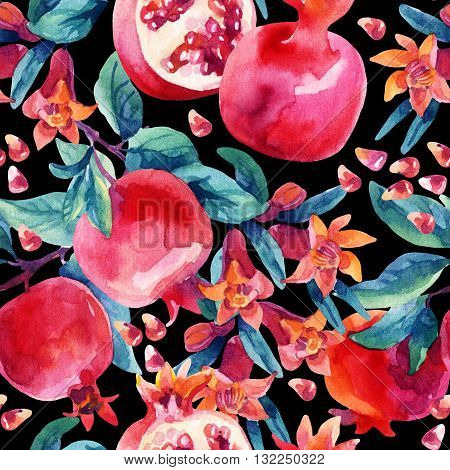Watercolor pomegranate bloom branches and fruit seamless pattern. Pomegranate fruit berries and flower on black background. Hand painted illustration