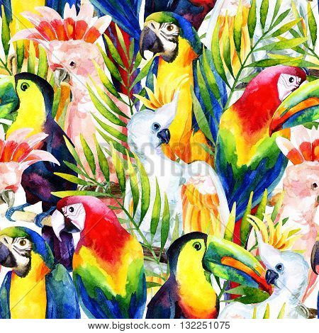 watercolor parrots seamless pattern on white background. Hand painted illustration with different species of parrots and palm leaves