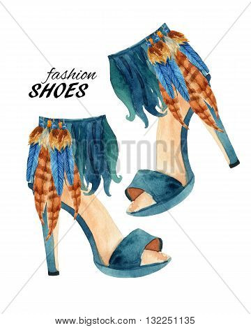 Watercolor stiletto heel shoes isolated on white background. Fashion high heels shoes with feathers. Watercolor feather shoes ankle wrap. Hand painted fashion art illustration with paper texture.