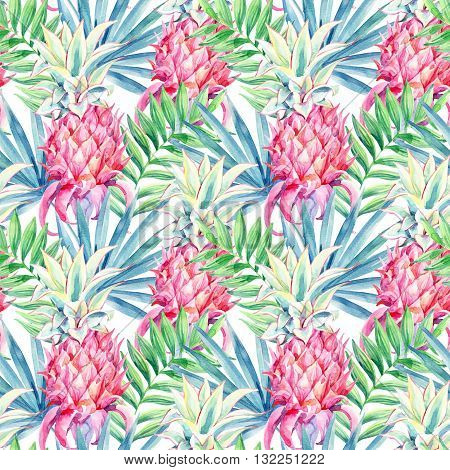 Watercolor pink pineapple fruit seamless pattern. Decorative pink pineapple with palm leaves on white background. The ornamental garden plant. Exotic plants background. Hand painted illustration
