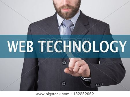 technology, internet and networking concept - Businessman presses web technology button on virtual screens. Internet technologies in business.