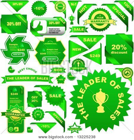 Set of green elements for sale.
