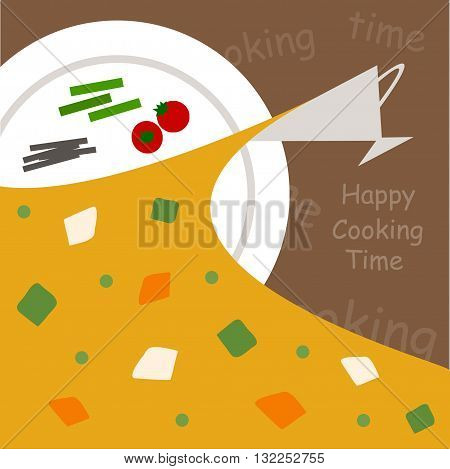 illustration of happy cooking delicious curry vegetables