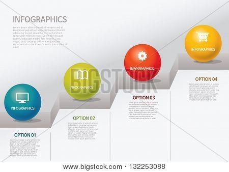 Vector Illustration:   info graphics - step, circle