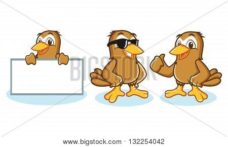 Sparrow Mascot Vector happy pose and bring board