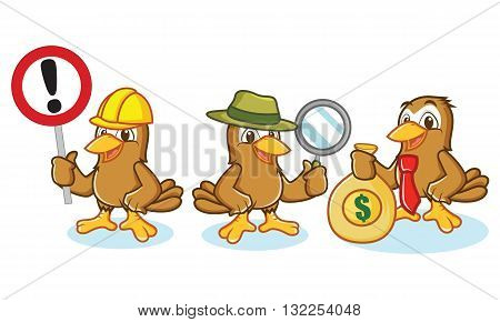 Sparrow Mascot Vector with money sign and magnifying glass
