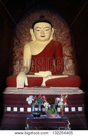 The statue of Buddha in a pagoda, Bagan, Myanmar (Burma)
