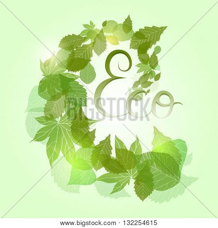 Whirlpool with green leaves sparkles and with hand drawn calligraphy for banners frames and your design
