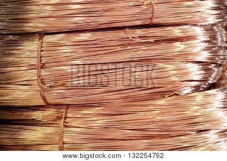 Close Up On Coils Of Raw Copper Wire