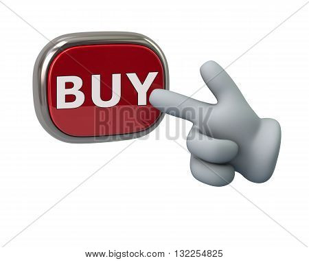 3d illustration. Hand pressing red buy button isolated on white background