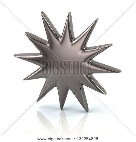 3D Illustration Of Silver Bursting Star Icon