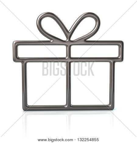 3d illustration of silver gift icon isolated on white background