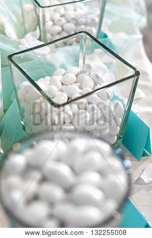 Display Of White Sugar Coated Almonds