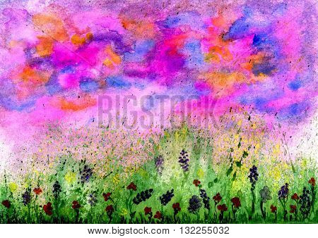 Summer landscape with green grass and vivid flowers watercolor painting.