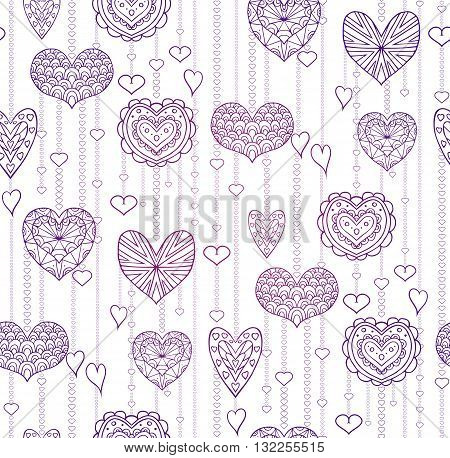 Seamless lilac texture with hanging doodle hearts for your creativity