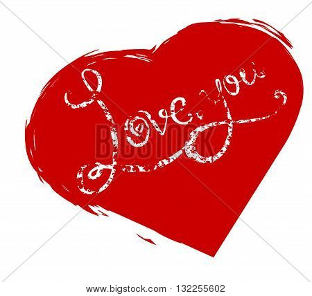 Calligraphic grunge inscription handwritten I love you in red heart. Vector element for your design