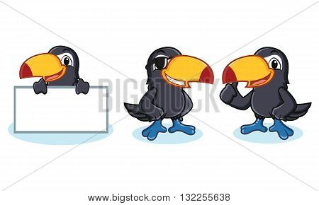Toucan Mascot happy pose and bring board