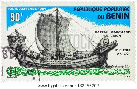 MOSCOW RUSSIA - MAY 03 2016: A stamp printed in Benin shows image Sidon Merchant Ship (2nd Century) series