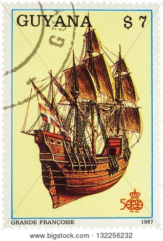 MOSCOW RUSSIA - APRIL 29 2016: A stamp printed in Guyana shows French four-masted sailing ship