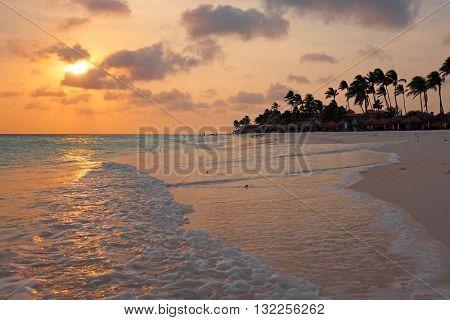 Beautiful sunset at Manchebo beach on Aruba island