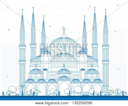 Outline Blue Mosque in Istanbul Turkey. Vector Illustration. Business Travel and Tourism Concept with Historic Building. Image for Presentation Banner Placard and Web Site.