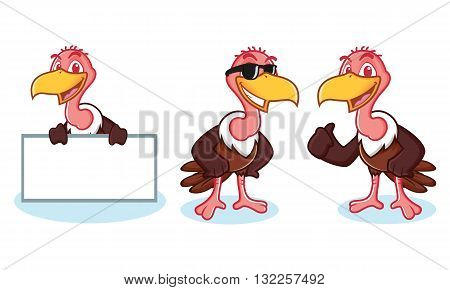Vulture Mascot Vector happy pose and board
