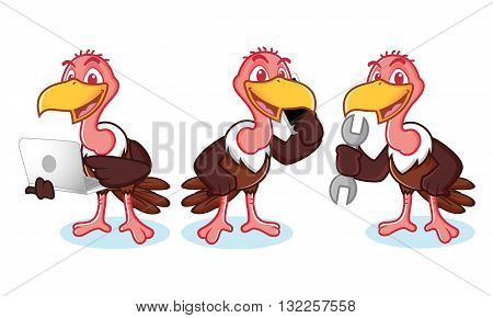 Vulture Mascot Vector with phone tools and laptop