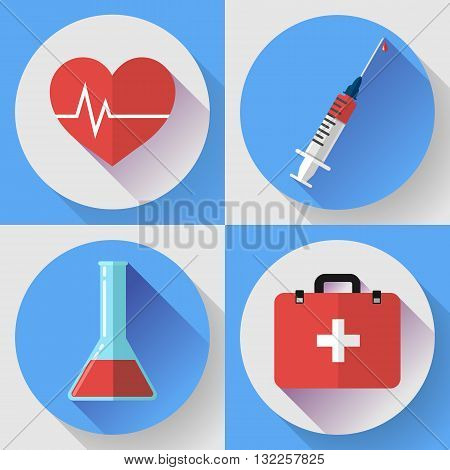 Trendy flat medical icons with shadow. Vector elements injector, heart cardiogram, First aid case and blood in the flask