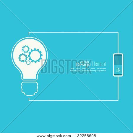 Bulb light idea with switch and gears. concept of big ideas inspiration innovation, invention, effective thinking. inclusion of thinking. Text box.