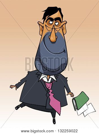 cartoon happy man in a suit skipping
