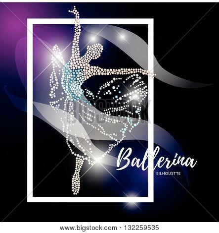 Vector ballerina silhouette isolated on black background. Dancing lady figure. Rhinestone pattern. Crystal jewelry young girl portrait, ballet illustration picture. Card design.