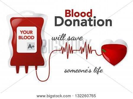 Blood donation, vector illustration, concept with dripper, heart and heartbeat line on white background