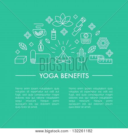 Main yoga symbols and signs. Pros and cons of yoga classes. Healthy lifestyle illustration with place for your text.