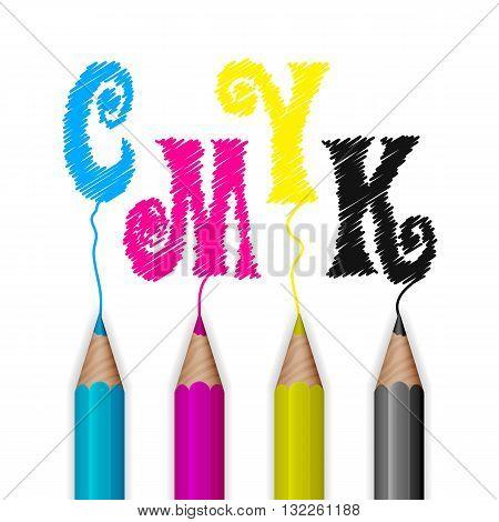 Color pencils in CMYK colors. Design concept. Vector illustration.