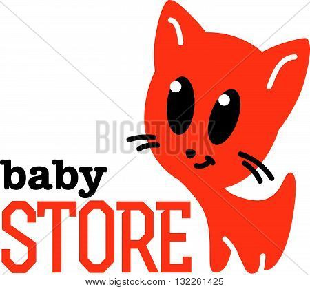 Vector simple flat kid logo. Baby, child company goods, toys shop, store. Kitten icon. Cute friendly smiling cat with big eyes icon, animal character. Orange kitten portrait isolated on white background.
