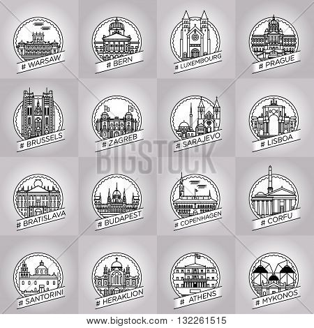 vector line warsaw bern luxembourg prague brussels zagreb sarajevo lisboa bratislava budapest cophenhagen corfu santorini heraklion athens mykonos city badge collection set