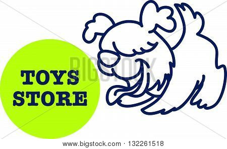 Vector simple flat kid logo. Baby, child company goods, toys shop, store, sweet shop, candy bar. Pet icon. Happy cheerful dog icon, animal character isolated on white background. Playful puppy portrait.