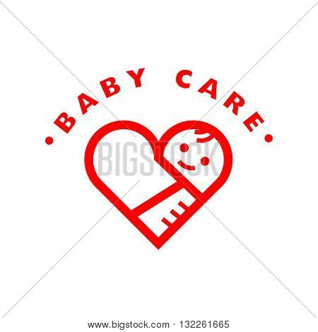 Vector simple flat kid logo. Baby, child company goods, toys shop, store, sweet shop, candy bar logo. Human icon. Children icon, animal character. Heart symbol isolated on white background. Baby care, hand holding baby.