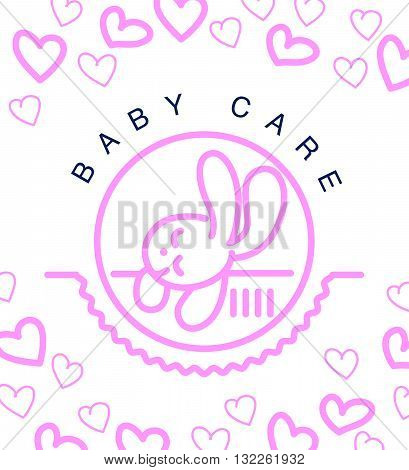 Vector simple flat kid logo. Baby, child company goods, toys shop, store. Sleeping bunny icon. Hare icon, animal cute character. Pink pattern with heart shapes isolated on white background.