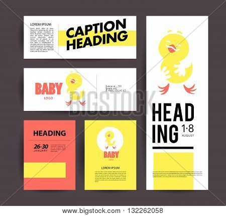 Vector simple flat kid logo. Baby, child company goods, toys shop, store, sweet shop, candy bar logo. Hen, chicken icon. Bird character. Flat simple card, poster, advertising, banner collection.