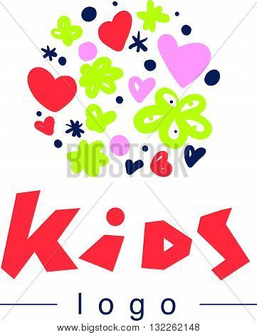 Vector simple flat kid logo. Baby, child company goods, toys shop, store. Hand drawn heart, flower, pattern isolated on white background. Artistic abstract colorful floral placer.