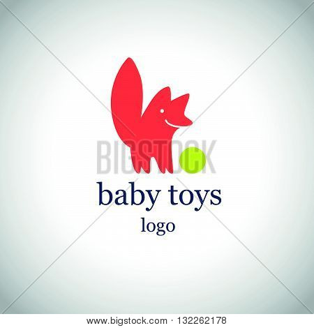 Vector simple flat kid logo. Baby, child company goods, toys shop, store. Red fox, dog smiling with green ball icon isolated on white background. Funny cute animal character with big tail.