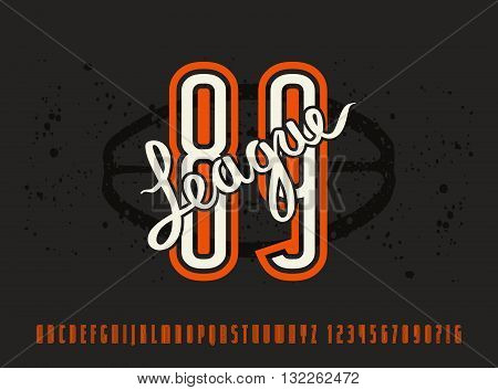 Narrow sanserif font and numbers with contour. Graphic design for t-shirt. Print on black background