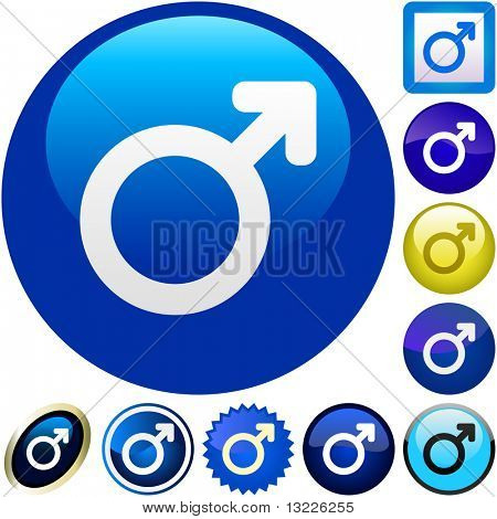 Male symbol. Vector button set.