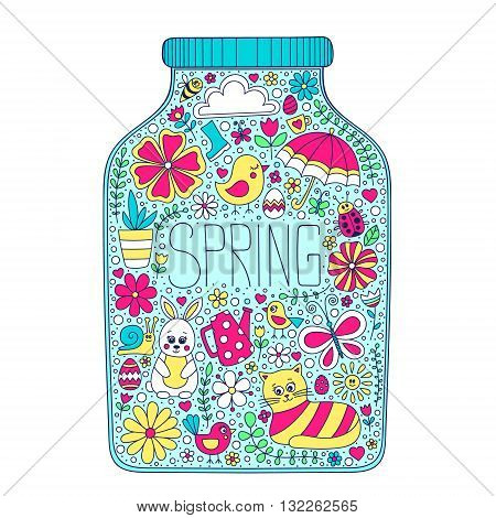 Spring jar. Vector bank with color doodle spring elements - bunny cat flower bird chicken sun cloud umbrella butterfly rubber boots easter egg watering can snail ladybug. Outline. Spring card. Yellow pink blue colors.
