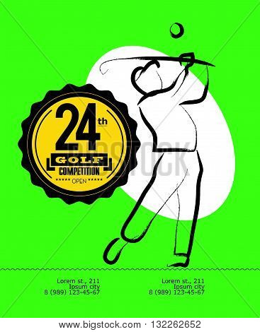 Vector hand drawn sportsman silhouette. Golf player figure. Flat sport advertising design template. Placard, poster, banner, leaflet, card. Human figure.