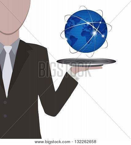 Waiter presenting the world in blue on silver tray