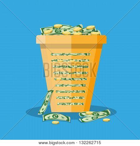 orange plastic office trash bin full of cash and gold coins. inflation concept. vector illustration in flat design on blue background