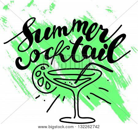 Hand drawn summer card. Letternig, text message isolated on white background. Hand written font, abc. Ink drawing.